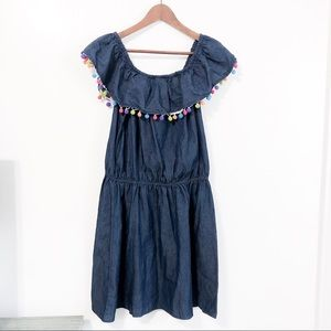 NWT New Look Plus Off-Shoulder Pom Chambray Dress